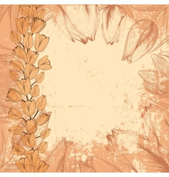Grungy vintage card with tulips vector image