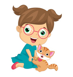 of a little girl playing vector image