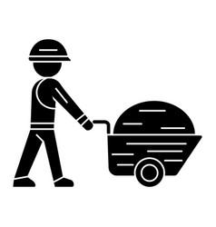worker builder with wheelbarrow icon vector image
