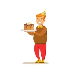 Chubby Boy With Big Cake Kids Birthday Party vector image vector image