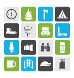 Flat Tourism and Holiday icons vector image