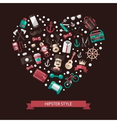 Heart of modern flat design hipster vector image vector image