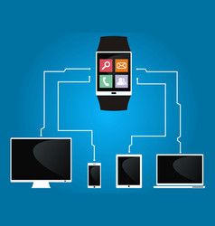 smart watch is connected to devices vector image vector image