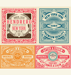 4 old cards set vector image