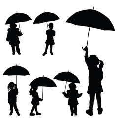Child girl holding umbrella silhouette vector