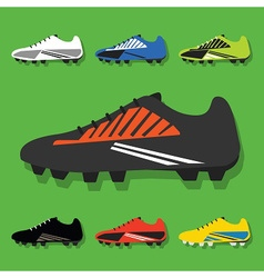 colorful soccer shoes icon set vector image vector image