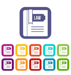 law book icons set vector image