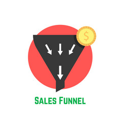 sales funnel in red circle with coin vector image