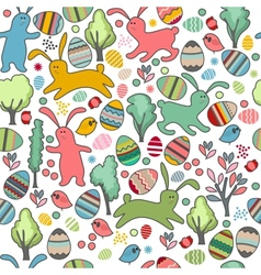 Seamless pattern with rabbits and spring trees vector image