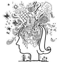 Sketch doodles of confused woman vector image vector image