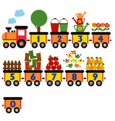 train with number of garden elements vector image vector image
