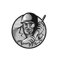 World War Two Soldier American Calling Radio vector image