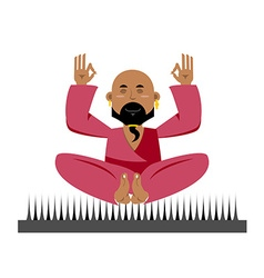 Yogi on nails Indian yogi sits on spike nirvana vector image