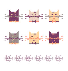 cats heads set vector image vector image