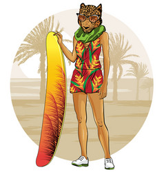 leopard with surfboat and tropical sunset vector image