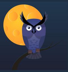 Owl moon cartoon vector