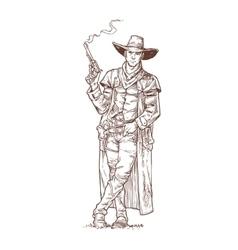 Robber with a smoking gun vector image