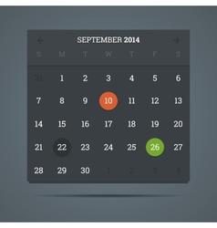 September 2014 calendar in flat dark style vector image vector image