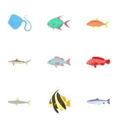 Tropical fish icons set cartoon style vector image
