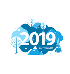 2019 happy new year greeting card winter holiday vector image