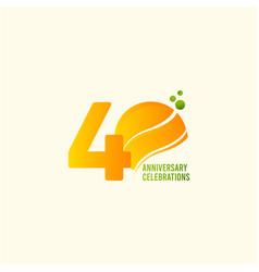 40 years anniversary celebration orange template vector