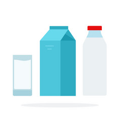 a glass milk a bottle milk and a packet of vector image