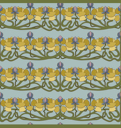 art deco floral seamless pattern on grey vector image