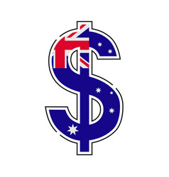 australian dollar symbol with a flag icon vector image
