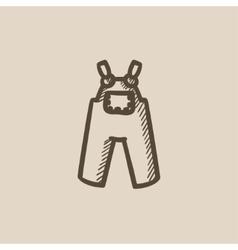 Baby overalls sketch icon vector image