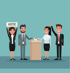 background scene set people in formal suit vote in vector image