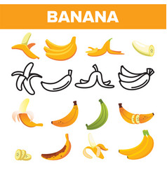 banana friut icon set yellow food symbol vector image