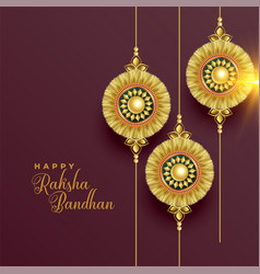 Beautiful golden rakhi background for raksha vector
