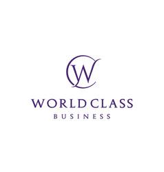 beauty elegant initial cw wc world class logo vector image