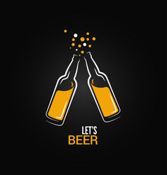beer bottle drink splash design background vector image