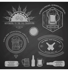 Beer emblems labels and design elements vector image