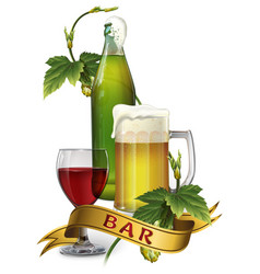 beer mug bottle hops glass wine and ribbon vector image