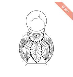Black line nesting doll with floral ornament vector