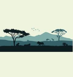 black silhouette animals african savannah vector image