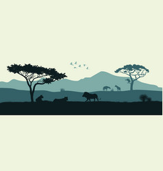 black silhouette of animals of african savannah vector image