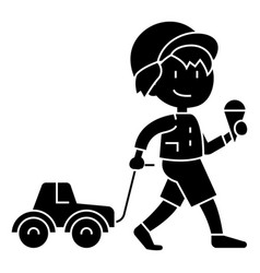 boy child with ice cream with car toy icon vector image