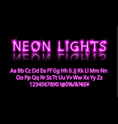 bright neon alphabet letter pink vector image