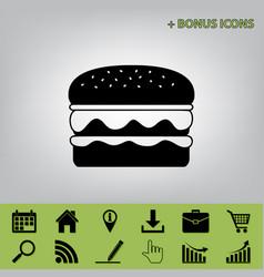 Burger simple sign black icon at gray vector