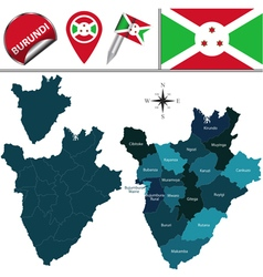 Burundi map with named divisions vector image