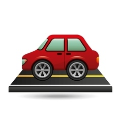 car sedan red on road design vector image