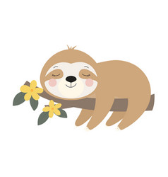 card with cute sloth on branch vector image