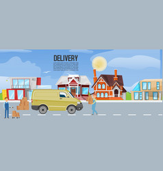 cartoon express delivery van truck transportation vector image