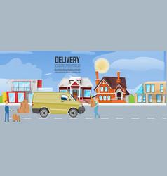 cartoon express delivery van truck transportation vector image