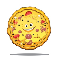 Cartoon pepperoni pizza vector image