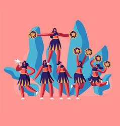 cheerleaders team in uniform making pyramid vector image