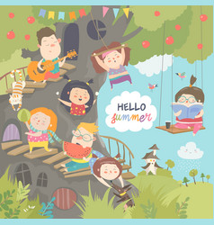 Children playing and having fun in treehouse vector